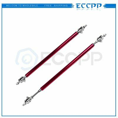 Red Adjustable Front Bumper Lip Splitter Strut Rod Tie Support Bar For Universal