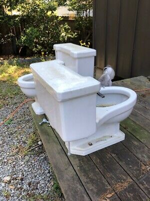 Vintage American Standard Toilet Mid-Century White One-Piece '50s Rare Elongated