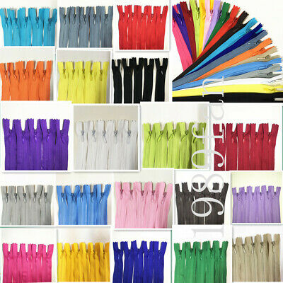 Nylon 3 Invisible Zippers 12-20 inch Tailor Sewing Craft 40-100pcs 20 colors