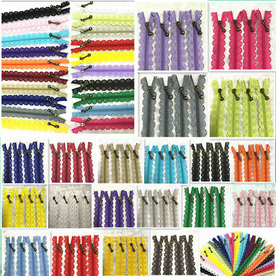 10-16inch Lace Closed End Zippers Nylon For PurseBags Multicolor Sewing5-10pcs