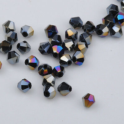 500pcs black ab exquisite Glass Crystal 4mm 5301 Bicone Beads loose beads