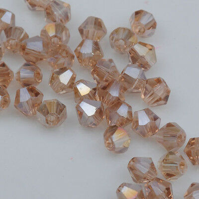 500pcs AB Silver Champagne Crystal 4mm 5301 Bicone Beads loose beads