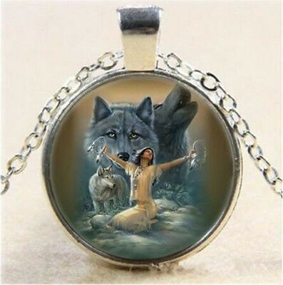 3 pcs Girl and Wolf photo Cabochon Glass Tibet Silver Chain Pendant Necklace T5