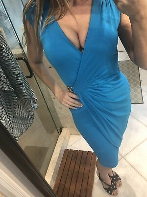 Cache Dress S Small Teal Blue Faux Wrap Style With Golden Horsebit Detail