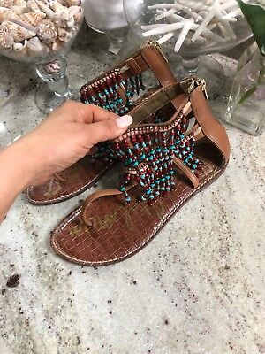 Sam Edelman Red Turquoise Beaded Thong Sandal Crystal RARE SOLD OUT Aztec 9