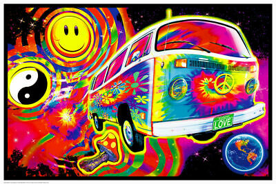 MAGIC BUS - BLACKLIGHT POSTER - 24X36 - PSYCHEDELIC MUSHROOM HIPPIE 422