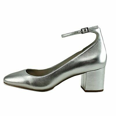 Aldo Womens Clarisse-91 Round Toe Ankle Strap Classic Pumps Silver Size 7-0 XH