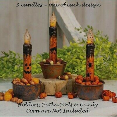 HALLOWEEN TIMER TAPER CANDLES 3 Pcs 6-75 CAT JACK O LANTERN FACE SPIDERS Grungy