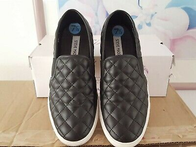 WOMENS STEVE MADDEN BLACK FLAT ENDELL QUILTED SNEAKERS SHOES SIZE 7-5