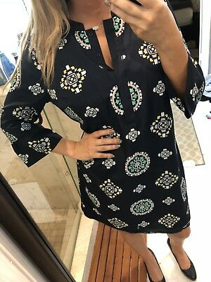 crown - ivy womens dress size 12 Blue Green yellow 34 sleeve