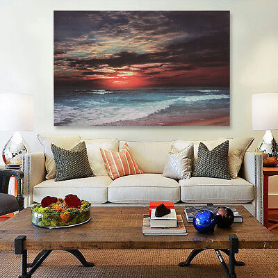 Framed Sunset Beach Sea Modern Canvas Art Painting Print Wall Picture