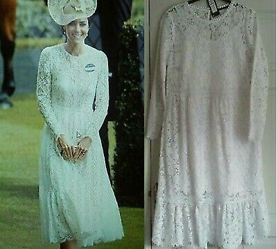 M-S COLLECTION  KATE MIDDLETON REPLICA WHITE LACE DRESS SIZE US 10  14 BNWT