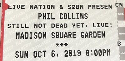 TWO Phil Collins Concert Tickets Madison Square Garden 10619 Section 101