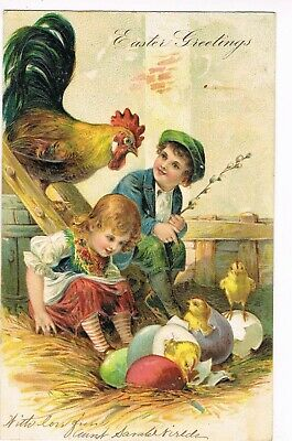 ANTIQUE EMBOSSED THANKSGIVING Postcard   RED-HAIRED GIRL WATCHING CHICKS HATCH