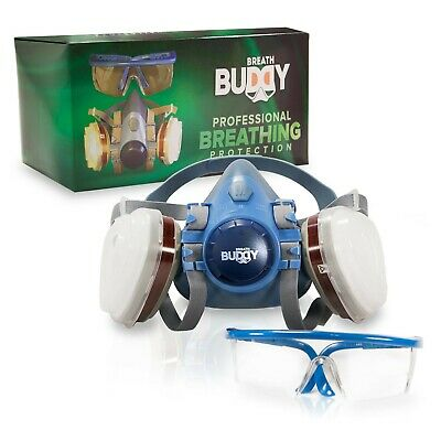 Breath Buddy Respirator Mask Plus Safety Glasses Reusable Professional Brea-