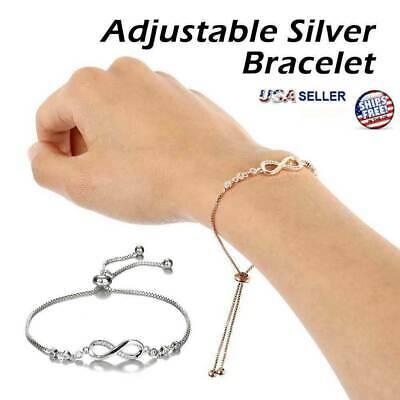 Infinity BRACELET Love Charm Stainless Adjustable Chain Womens Crystal Jewelry