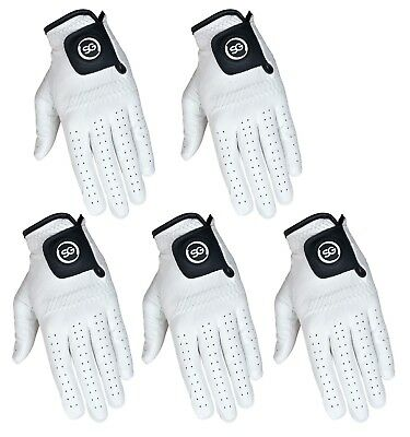 SG PACK OF 5 Men white Cabretta Leather Golf gloves Right - Left hand available