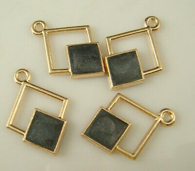 2pcs DIY square Lot Metal Charm 18K gilded Pendant Necklace Jewelry aj6
