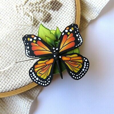 Monarch Butterfly Magnetic Needle Minder by Claybykim