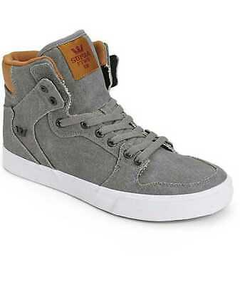 NEW MENS 11-5 SUPRA VAIDER CANVAS GREY - BROWN SKATE SHOES 08204-011 - NO BOX