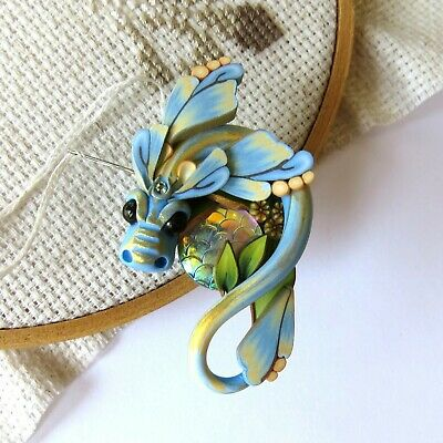 Pastel Blue and Yellow Fairy Rider Dragon Magnetic Needle Minder by Claybykim