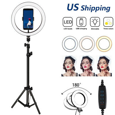 10 Selfie LED Ring Light With Tripod Stand Phone Holder For Live StreamMakeup
