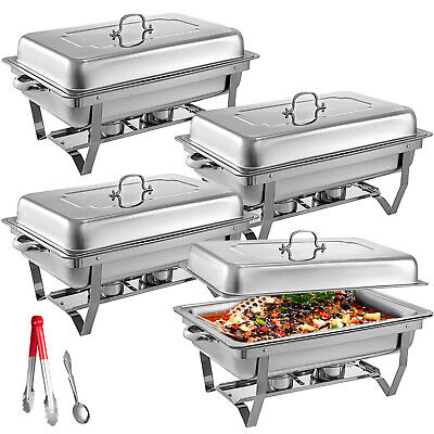 4 Pack Chafing Dish Sets Buffet Catering Stainless Steel WTray Folding Chafer
