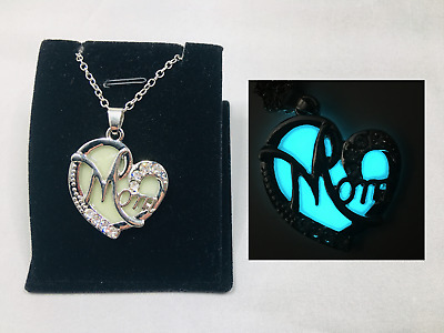 Love MOM Heart GLOW in the DARK Silver Pendant Charm Necklace Mothers Day