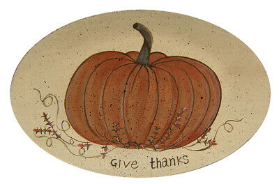 Primitive Thanksgiving GIVE THANKS Oval Plate Country Farmhouse Decorative Fall