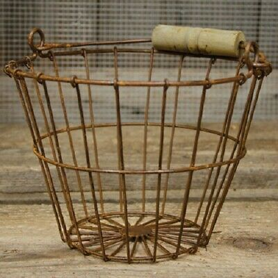 RUSTY WIRE GATHERING BASKET Farmhouse Bucket Primitive French Country Rustic