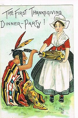 ANTIQUE EMBOSSED THANKSGIVING Postcard     THE FIRST THANKSGIVING DINNER PARTY