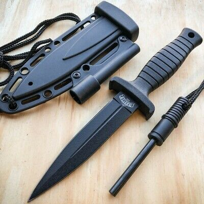 7 Double Edge Military Tactical Hunting Dagger Neck Knife - Fire Starter Stick
