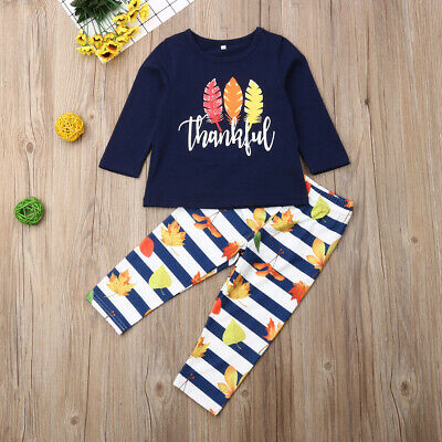 Thanksgiving Kids Toddler Baby Girl Long Sleeve T-shirt Tops Pants Outfits 1-6T