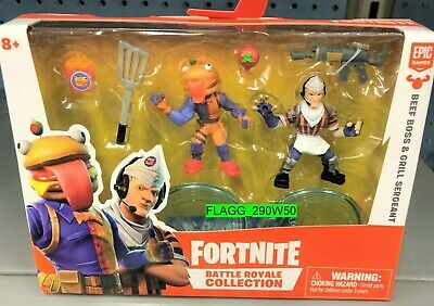 FORTNITE BATTLE ROYALE COLLECTION Beef Boss Grill Sergeant FIGURE 2 PACK 2019