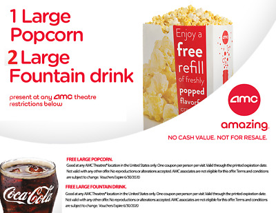 AMC Theatres Vouchers for 1 LARGE Popcorn 2 LARGE Drinks exp 63020 Date Night