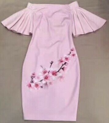 Ted Baker Blossom Off The Shoulder Bell Sleeve Sheath Dress TB Size 0 US 2XS
