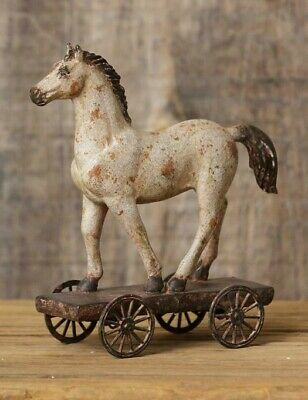 PRIMITIVE HORSE ON WHEELS Country Farmhouse Rustic Farm Resin Vintage Look