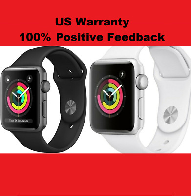 New Apple Watch Series 3 GPS Space GraySilver 38mm42mm BlackWhite Sport Band