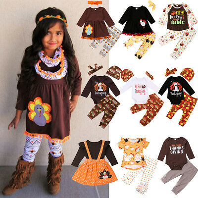Lovely Kids Baby Boy Girl Thanksgiving Clothes Turkey Tops Pants Hat Outfit Set