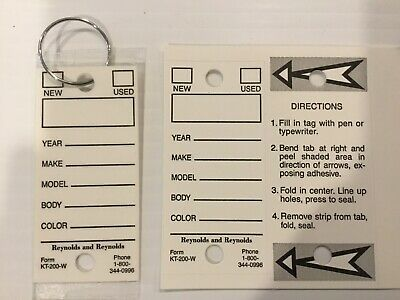 Car Dealer Self Laminating Key Tags w Rings -WHITE-Box Of 250