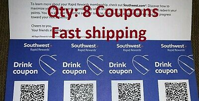 x8 Southwest Airlines Coupons Drink Beverage Voucher August 31 2020 Fast Ship
