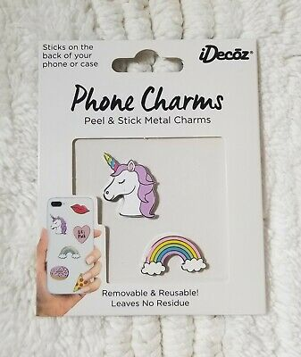 Phone Charms for Phone or Case Trendy Peel n' Stick Metal Removable - Reusable