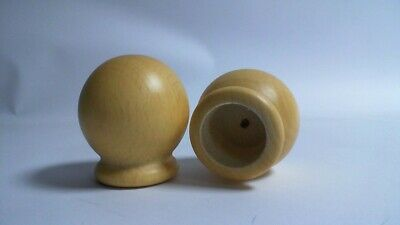 Pair of Natural Wooden Round Ball Curtain Rail Finials To Fit 30mm Poles 19E72