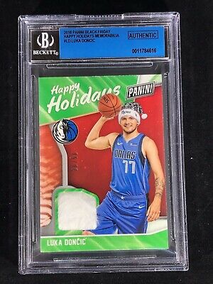 LUKA DONCIC 2018 PANINI BLACK FRIDAY HAPPY HOLIDAYS SANTA HAT SWATCH ROOKIE 50