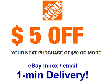 Home Depot 5 OFF 50 Promo-1Coupon In-Store Only Super Fast Sent in 1 min