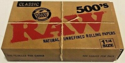 Raw Classic Natural Unrefined 500 Pack Cigarette Rolling PapersFree Shipping