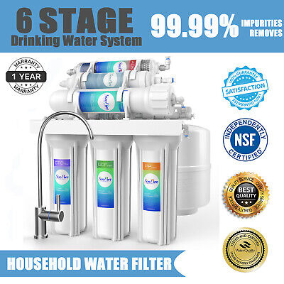 75 GPD 6 Stage Alkaline Reverse Osmosis Drinking Water Filter System Purifier