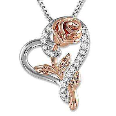 Mothers Day Gifts Silver Rose Flower in Heart Pendant Necklace For Mom Wife