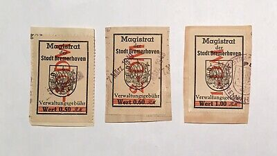 3 Municipal Revenue Stamps Bremerhaven Germany