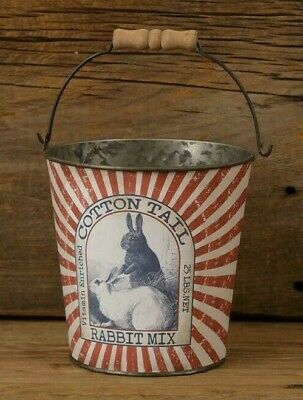 PRIMITIVE RABBIT FEED BUCKET METAL VINTAGE LOOK RABBITS BUNNIES SPRING EASTER